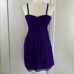 J Crew purple silk gathered dress